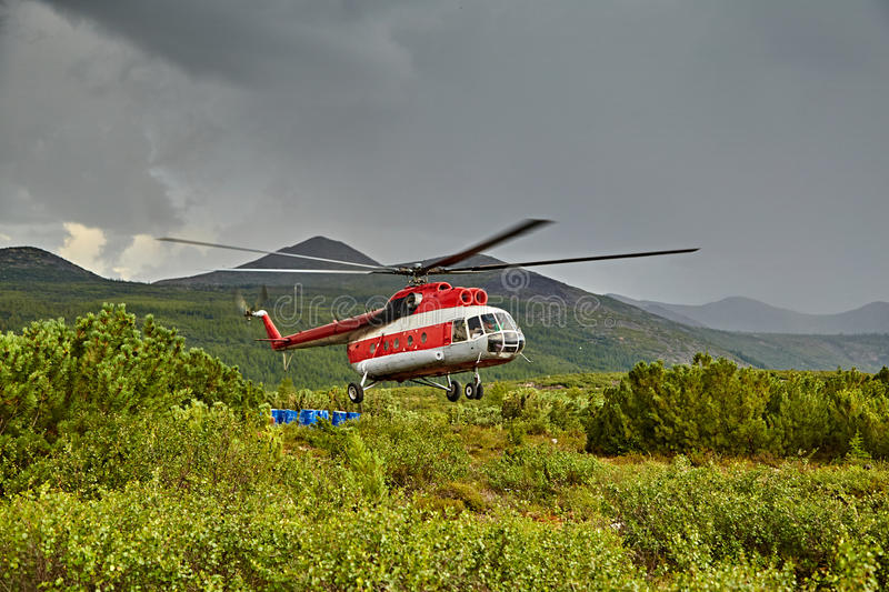 Download Landing Of The Helicopter To Island Vera - Jack London's Lake Stock Image - Image: 63124617