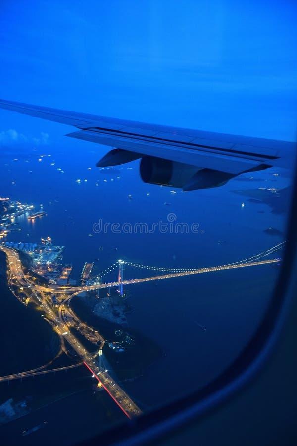 Landing at Hong kong. Glimpse of hong kong city just before the landing royalty free stock image