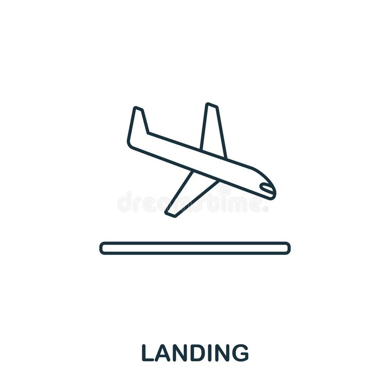 Landing icon. Outline thin line style from airport icons collection. Pixel perfect Landing icon for web design, apps vector illustration