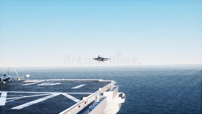 Landing jet f16 on aircraft carrier in ocean. Military and war concept. 3d rendering. Landing jet f16 on aircraft carrier in ocean. Military and war concept. 3d vector illustration