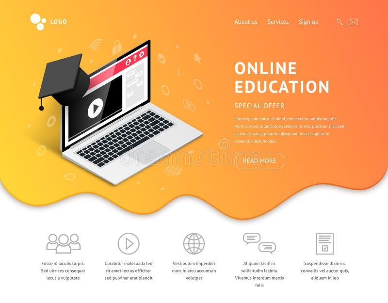 Landing online education laptop graduation cap stock illustration