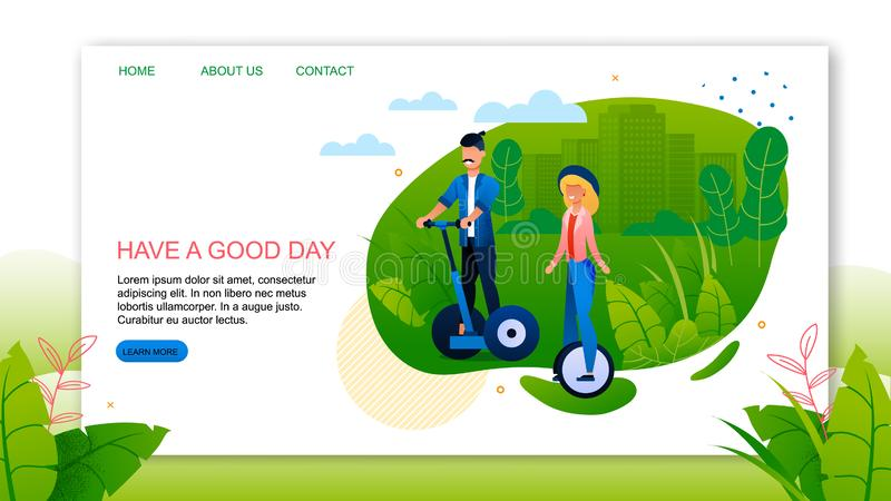 Landing Page Advertising Happy Healthy Vacation. Landing Page with Motivate Quote Have Good Day Advertising Happy Healthy Vacation. Young Married Couple or vector illustration