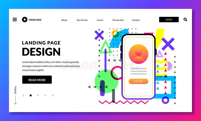 Landing page banner design template. Website or mobile interface concept. Vector layout design elements vector illustration
