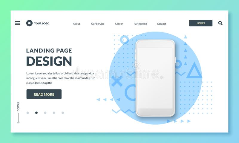 Landing page banner template. Smartphone realistic 3d illustration, mobile interface concept. Vector layout design. Landing page or banner design template royalty free illustration
