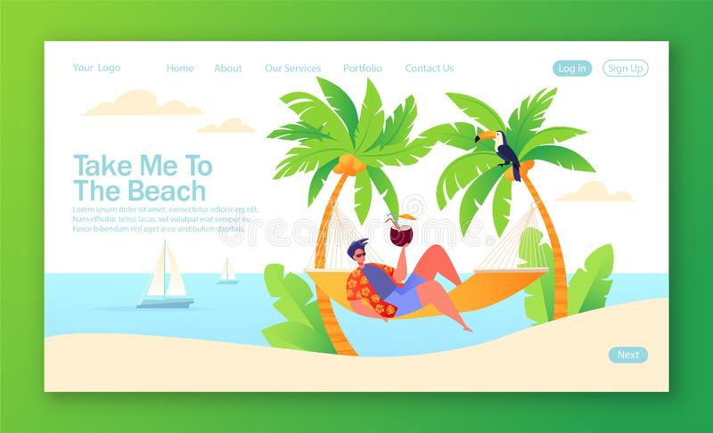 Concept of landing page on summer holiday, vacation theme. stock illustration