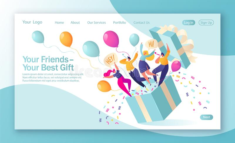 Concept of landing page on birthday celebrations theme. Joyful, flat characters people jump out of the gift box with confetti and balloons. Friends made a vector illustration