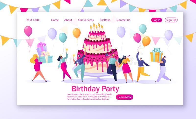 Concept of landing page with birthday celebrations theme. People carry gifts, blow their whistles, dance and celebrate the holiday around big, bright, tasty royalty free illustration