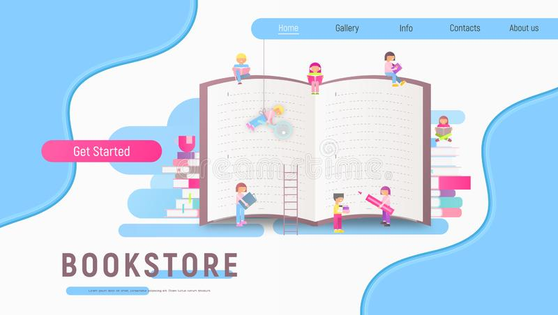 Landing Page for Bookstore. Modern Flat Design Landing Page for Bookstore, Book Festival, Fair, Reading Challenge and Literature Events. Small Characters Cartoon stock illustration