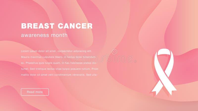 Landing page breast cancer awareness month vector illustration. Landing page breast cancer awareness month, vector illustration on wavy liquid geometric vector illustration