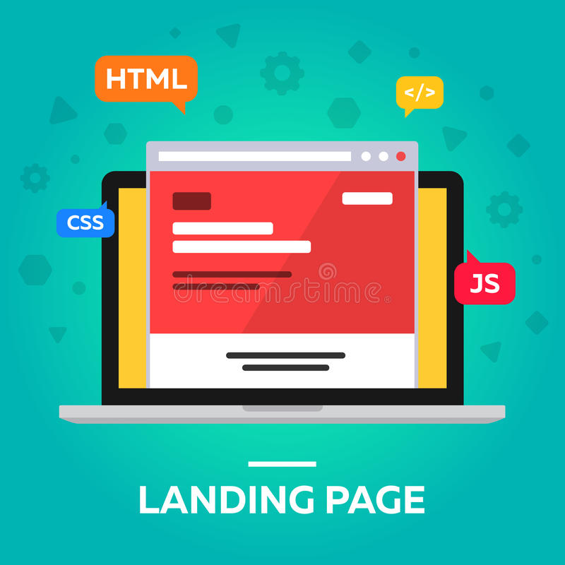 Landing page. Browser. Flat. stock photos