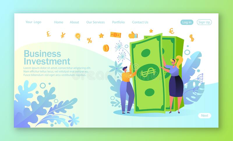 Concept of landing page on finance theme. People characters with big money stack. Rich man and woman. Employees received a salary. Concept of financial success royalty free illustration