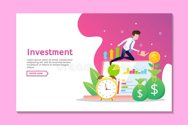Landing page business template with man and growing money coin royalty free illustration