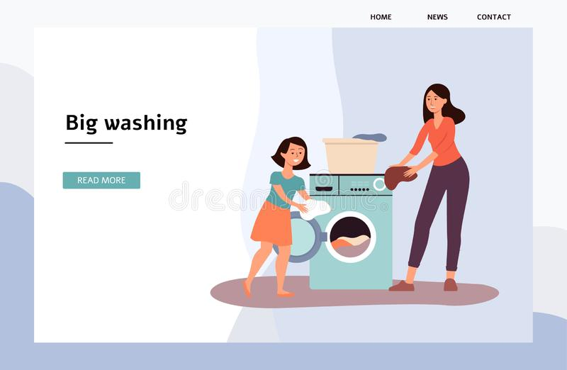 Landing page with cartoon mother and child in the laundry flat vector illustration. stock images
