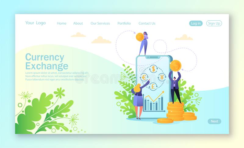 Concept of landing page for mobile website development and web page design. Concept of mobile currency exchange service. Business people changes currency using royalty free illustration