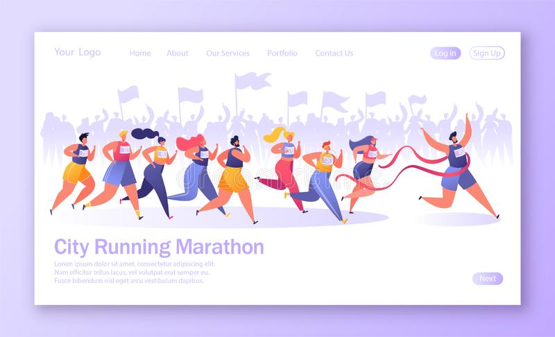 Concept of landing page on healthy lifestyle theme. Active people sports. Flat characters running marathon distance. Crowd of fans on the background rejoices vector illustration