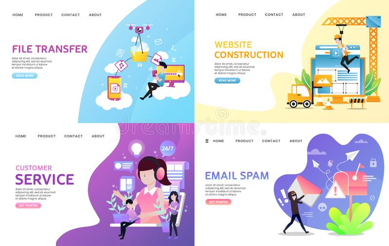 Landing page collection stock photography
