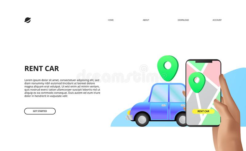 Landing page concept illustration of rent car sharing with mobile app maps royalty free illustration