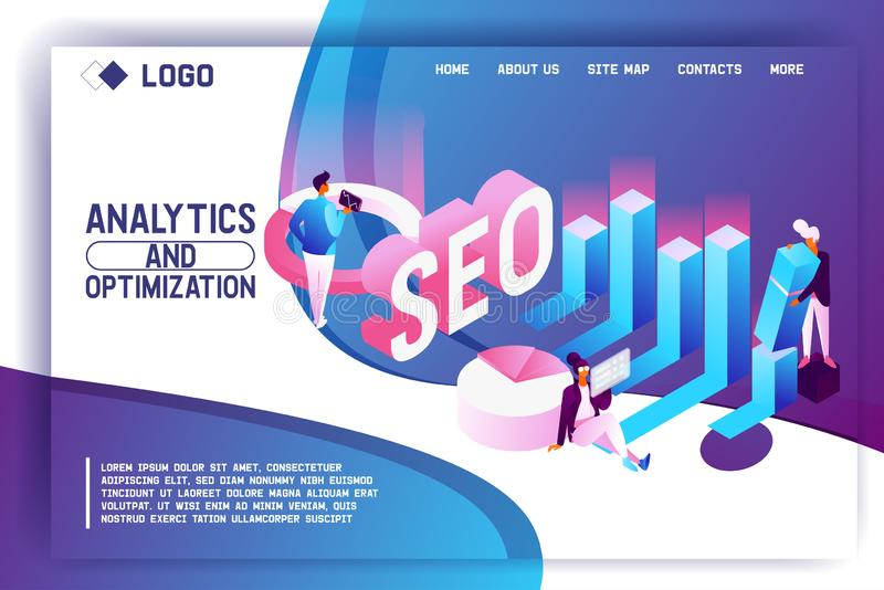 Landing page concept in isometric style with people, graphs and diagram foe search engine optimization. Seo team working with web stock illustration