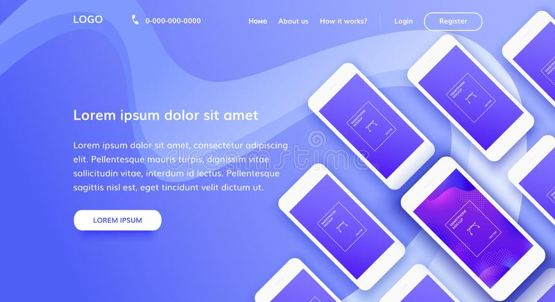 Landing page concept with mobile phones. Illustrashion. Web Design the layout of the main screen with a variety of smartphones in the isometric view vector illustration