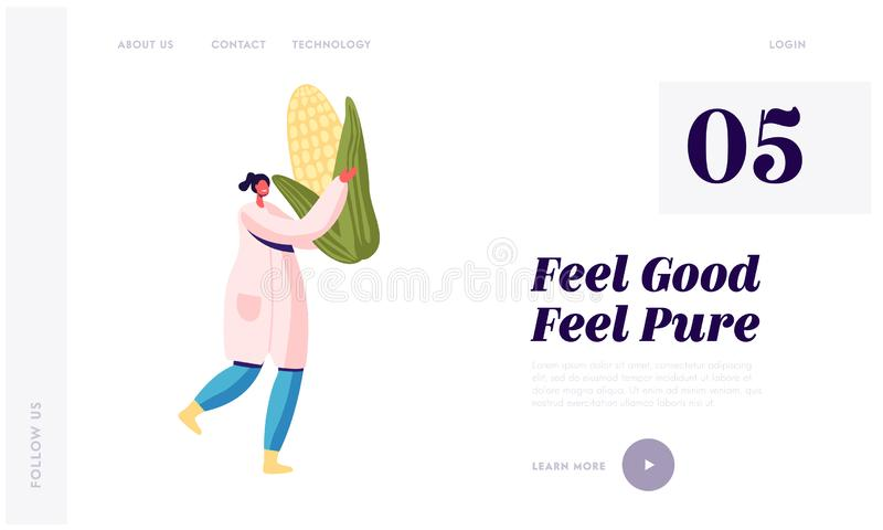 Landing Page der Canning Products Industry Junge Frau in White Robe Carry Huge Corn Fabrikarbeiter stock abbildung