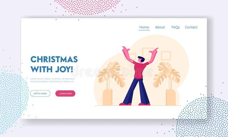 Landing Page der Emotional Man Expression Website Rückansicht der jungen männlichen Figur mit aufgeregten Händen vektor abbildung