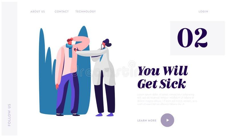 Landing Page der Krankheitsseite Ill Man mit Eisheizung auf Kopf mit kaltem Virus Doctor Listen Herzschlag stock abbildung