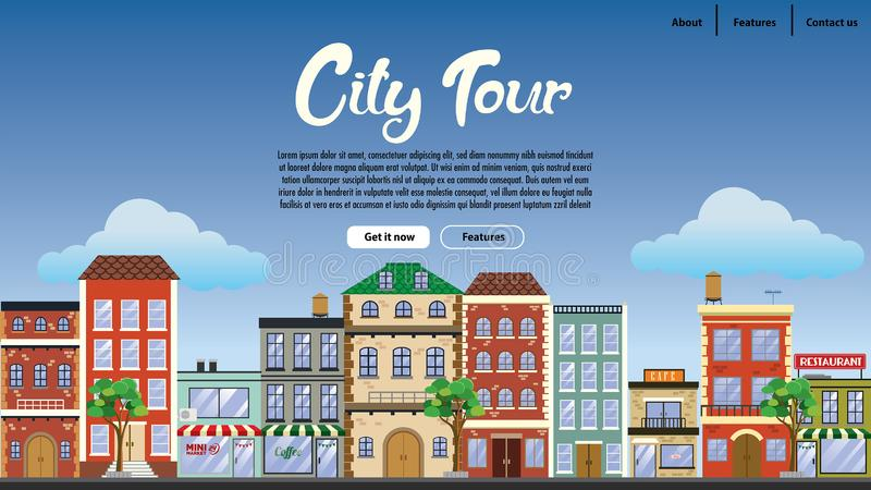 Landing page design downtown with flat vector style. Vector of landing web page design downtown with flat vector style stock illustration