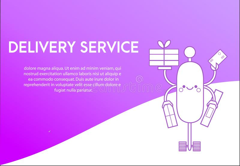 Landing page design template for delivery service. Cute robot, friendly android delivering post boxes royalty free illustration