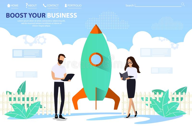 Landing Page Template Offers Boost Your Business vector illustration
