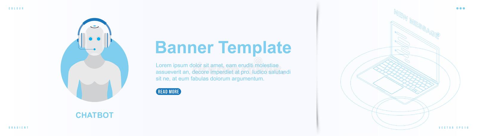Landing Page design template for web site with Icon Chatbot on the background. Outline drawing laptop in isometric style vector illustration