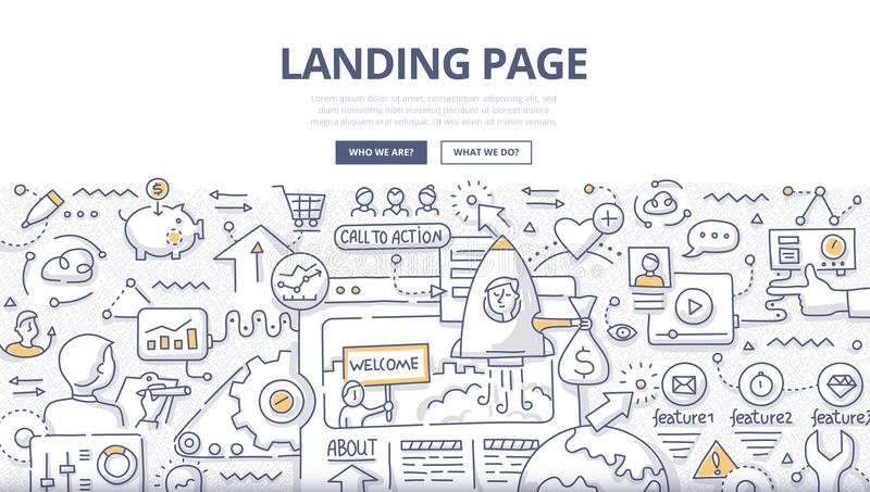 Landing Page Doodle Concept royalty free illustration