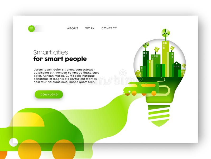 Eco friendly city web landing page template vector illustration