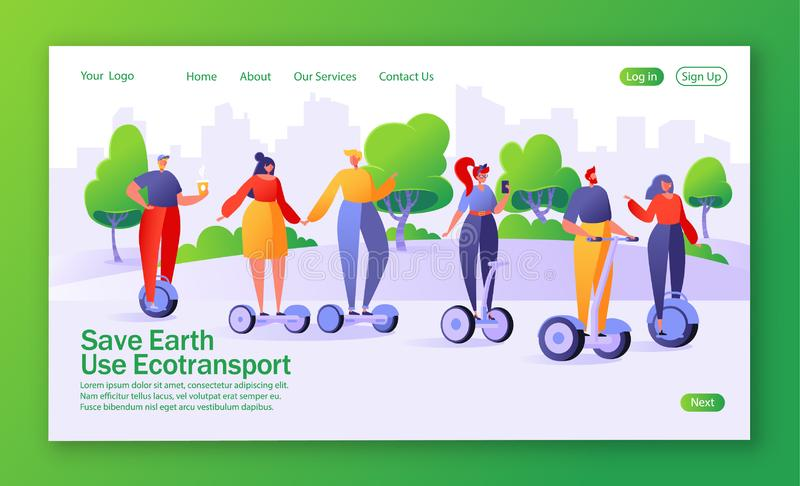 Concept of landing page on ecology theme. Flat design characters of men and women with hoverboards, skateboards. People, men and women riding modern electric royalty free illustration