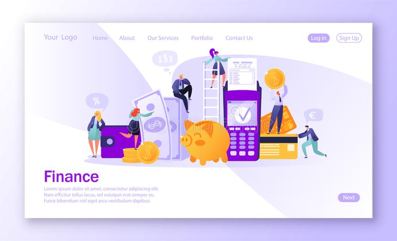 Concept of landing page on finance theme. Concept of online banking, money transaction technology. Credit card and payment termina. L. Business people pay coins royalty free illustration