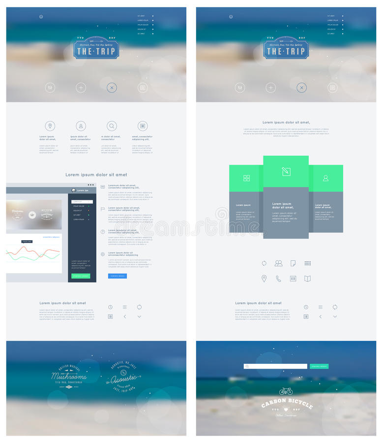 Landing page in flat style with features icons and sign up form. Vector template. QUIKsand stock illustration