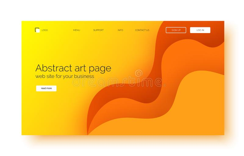 Landing page gradient waves background, banner for presentation, web site. Abstract poster with text space, abstract futuristic shapes stock illustration