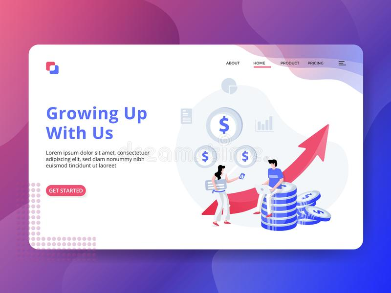Landing Page Growing Up With Us royalty free illustration