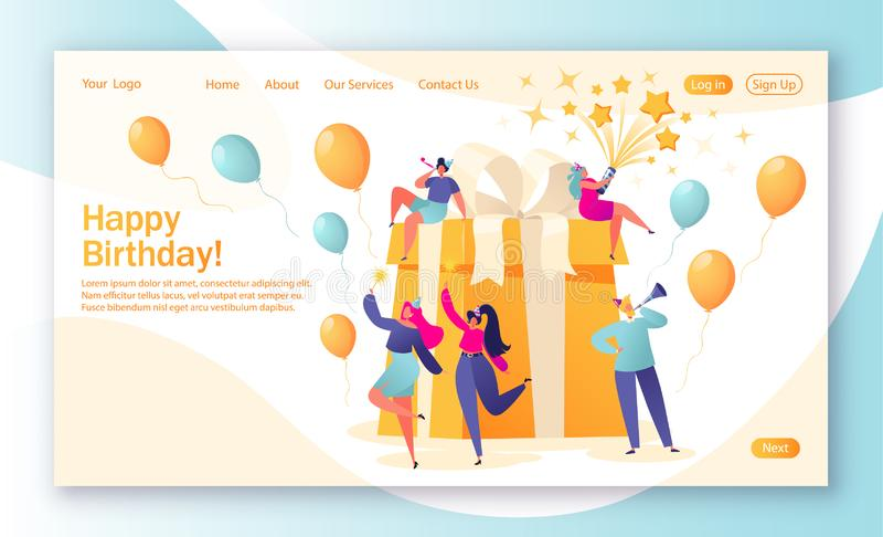 Concept of landing page with birthday celebrations theme. Birthday party celebration with friends. People blow their whistles, dance and celebrate the holiday stock illustration