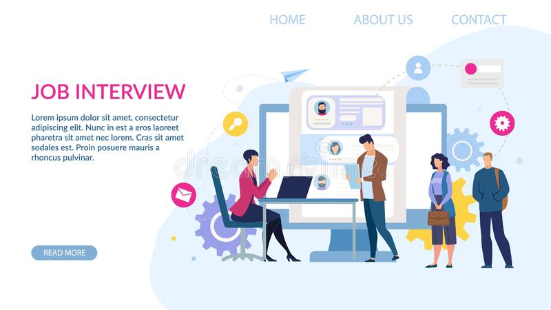 Landing Page for Hiring Recruiting Job Agency vector illustration