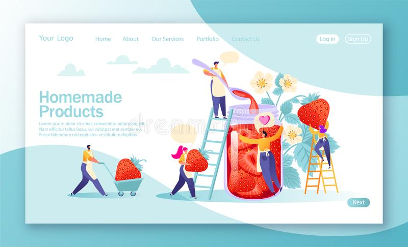 Concept of landing page on homemade products theme. Concept of jam production. vector illustration