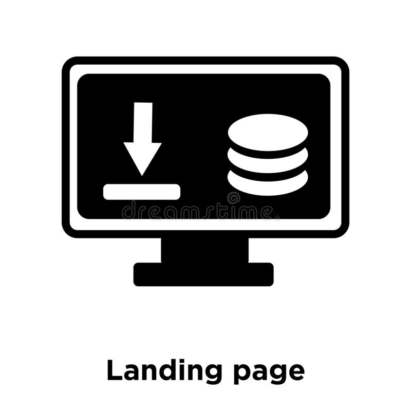 Landing page icon vector isolated on white background, logo concept of Landing page sign on transparent background, black filled stock illustration