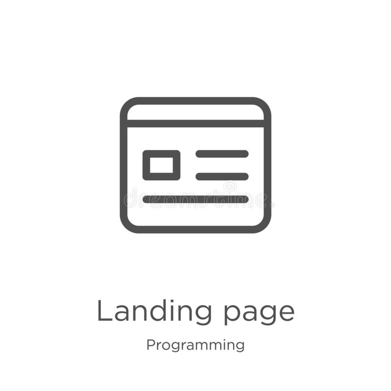 landing page icon vector from programming collection. Thin line landing page outline icon vector illustration. Outline, thin line royalty free illustration