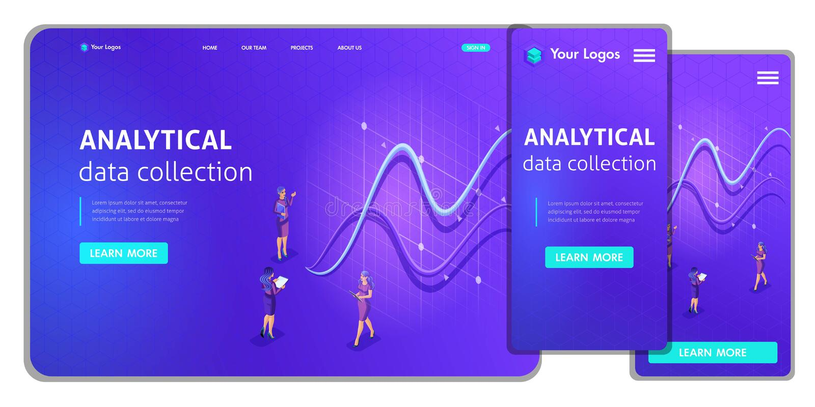 Landing page Isometric Concept business analysis, virtual technologies. Website template design. Easy to edit and customize ui ux stock illustration