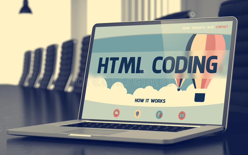 Landing Page of Laptop with Html Coding Concept. 3D. royalty free stock image