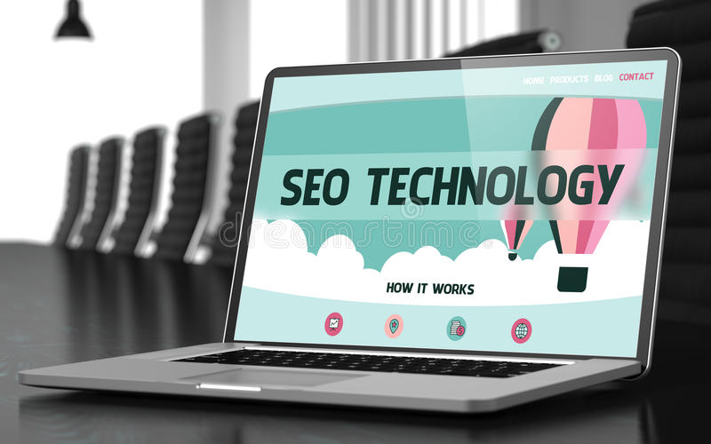 Landing Page of Laptop with SEO Technology Concept. 3D. stock photo