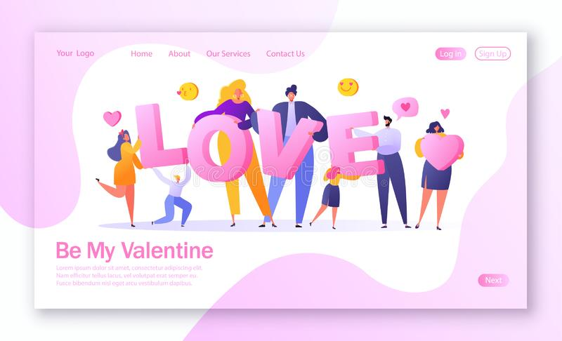 Concept of landing page on love story theme. Happy flat people character holding large letters LOVE. royalty free illustration