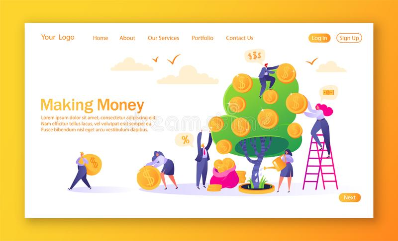 Concept of landing page on finance theme. Making money business investment with flat people characters. Woman watering money tree. Other characters collecting royalty free illustration
