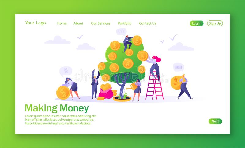 Concept of landing page on finance theme. Making money business investment with flat people characters. Woman watering money tree other characters collecting vector illustration