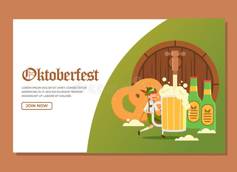 Landing page of man holding a glass of huge beer with other stuffs to celebrate Oktoberfest event royalty free stock photo