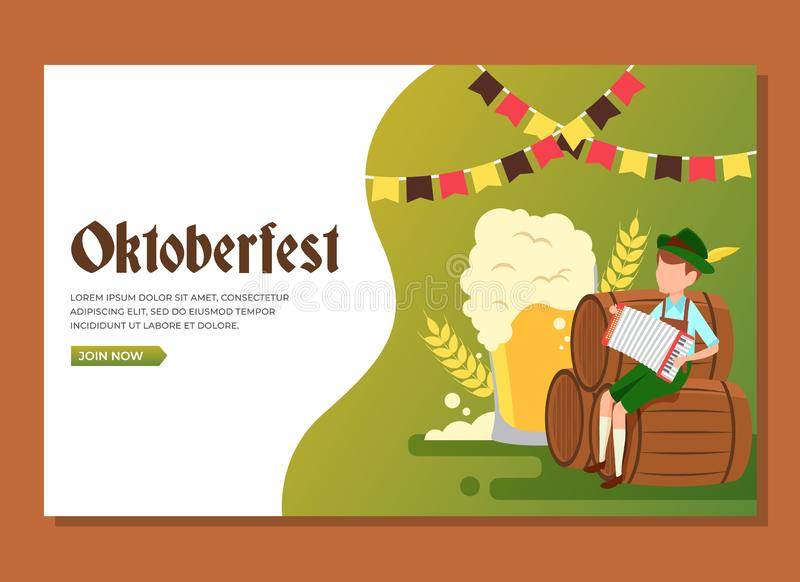 Landing page of man sitting in the barrels playing accordion to celebrate Oktoberfest stock photo